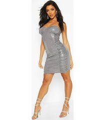 bandeau all over sequin bodycon dress, pewter