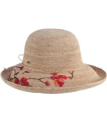 scala crochet raffia hat with embroidered flowers