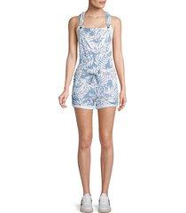 tropical-print cotton-blend short overalls