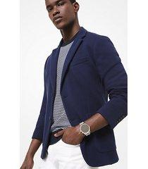 mk blazer in maglia di cotone - notte (blu) - michael kors