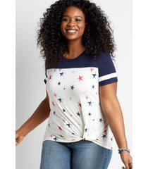 maurices plus size womens 24/7 star knot front baseball tee