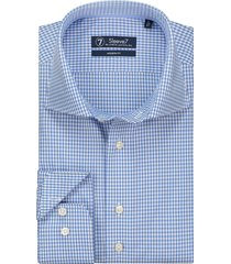 sleeve7 heren overhemd fijne ruit poplin blauw