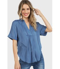 blusa wados camisero azul - calce regular