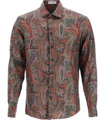 etro floral paisley print silk shirt