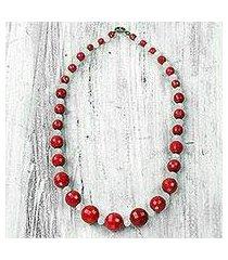 recycled plastic beaded necklace, 'mystical aura' (ghana)