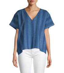joie women's theola stripe linen & cotton chambray top - deep ocean - size xxs
