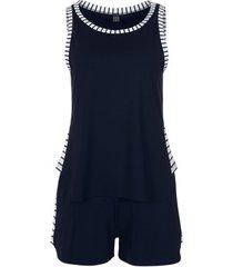 pyjama's / nachthemden lisca francis marineblauwe tanktop en korte broek