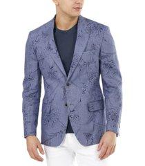 tallia men's slim-fit, light blue floral linen blazer