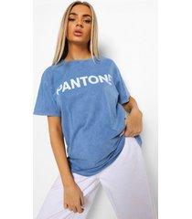 acid wash gebleekt pantone t-shirt met tekst, gewassen blauw