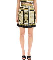 versace barocco mosaic print pleated mini skirt