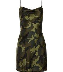 alice+olivia camouflage print cami dress - green