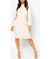 petite cape sleeve midi dress, blush