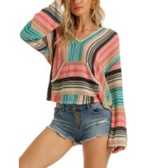 women's billabong baja beach sweater, size large - blue/green