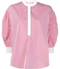 alexander mcqueen vertical-stripe collarless blouse - red