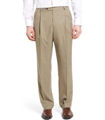 men's berle lightweight plain weave pleated classic fit trousers, size 38 x unhemmed - beige