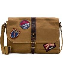 patricia nash men's waxed canvas patch messenger bag