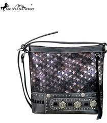 montana west stars & silver concho pu leather canvas crossbody bag purse 3colors