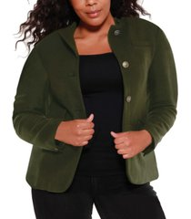belldini black label women's plus size utility wool blend jacket