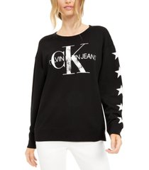 calvin klein jeans distressed logo french terry sweatshirt