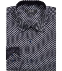 nine west men's slim-fit performance stretch diamond reticle-print dress shirt