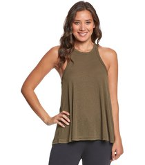 free people women's slub long beach tank top - army x-small spandex