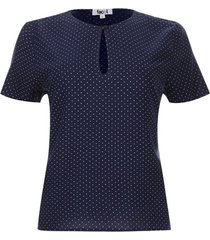 blusa cierre lagrima color azul, talla 10