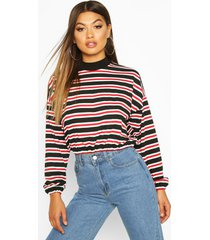 high neck striped long sleeve top, red