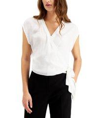 bar iii cap-sleeve wrap blouse, created for macy's