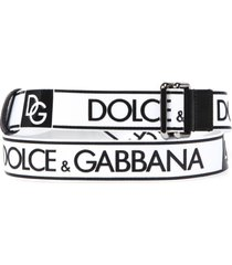 dolce & gabbana white and black fabric and leather logo belt