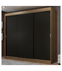guarda-roupa casal madesa kansas 3 portas de correr 3 gavetas rustic/preto cor:rustic/preto