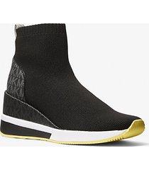 mk sock sneaker skyler in maglia stretch e logo bicolore - nero (nero) - michael kors