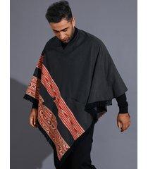 camiseta con dobladillo asimétrico con borla empalmada tribal con cuello en v para hombre para halloween