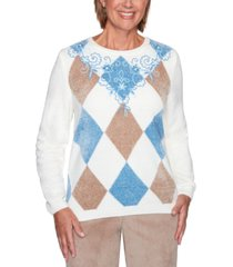 alfred dunner petite dover cliffs argyle floral-yoke embroidered sweater