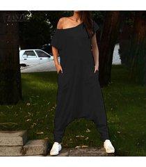 zanzea mujeres ocasionales del cuello de o cold shoulder del mono de los mamelucos playsuits pantalones -negro