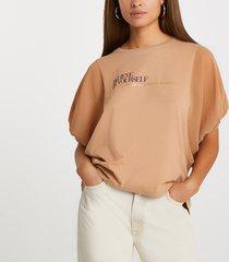 river island womens brown batwing sleeve 'believe' t-shirt