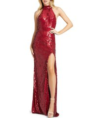 mac duggal women's halter sequin column gown - burgundy - size 10