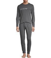 emporio armani men's 2-piece logo pajama set - solid dark - size l