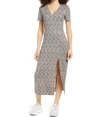 women's wayf alexa short sleeve midi dress, size x-small - beige