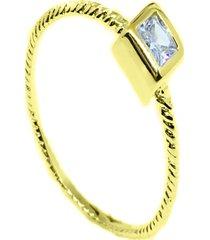 anel kumbayá solitário quadrado  semijoia banho de ouro 18k cravaçáo de zircônias - tricae