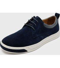 zapato casual cuero,textil azul nat geo
