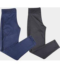 kit calça legging volare suplex cintura alta feminina c/ 2 peças