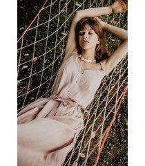 lniana sukienka na cienkich ramiączkach, różowa