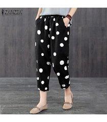 zanzea elástico de las mujeres de la cintura midi pantalones ocasionales de los lunares flojo holgado pantalón plus -negro