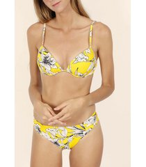bikini admas 2-delige push-up bikiniset gele bloemen geel adma's