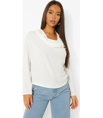 blouse met extreme waterval hals, white