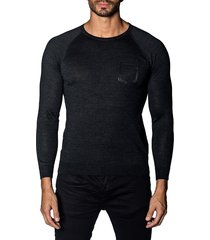 jared lang men's trim-fit lightweight sweater - charcoal - size xl