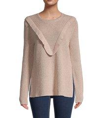 redvalentino women's maglia metallic ruffle sweater - nude - size m