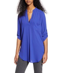women's all in favor perfect henley tunic, size x-small - blue