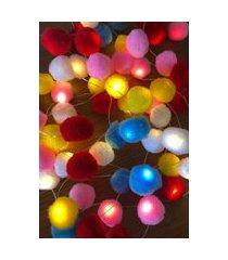 fio de luz led com pompons para iluminar e decorar sua casa