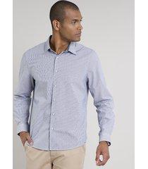 camisa masculina comfort listrada manga longa azul